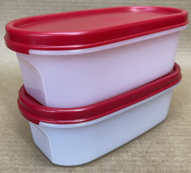Tupperware Modular Mates Oval #1 (2 cup) Red Seal Set of 2 #1611 New