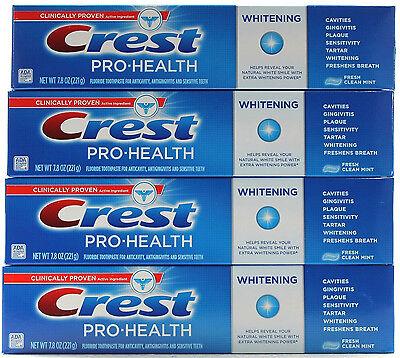 4 Crest Pro Health Whitening Fresh Clean Mint Toothpaste 7.8oz Tubes