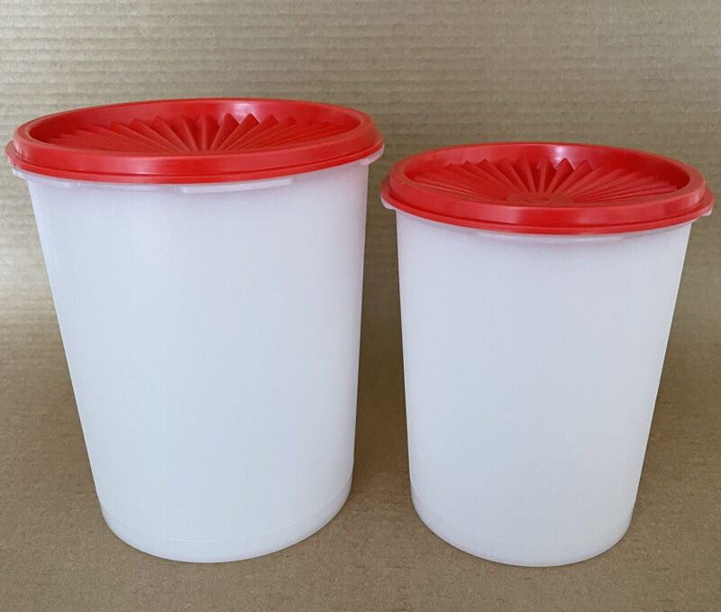 Tupperware Servalier Canister Set (5 Cup + 8 Cup) Sheer/Red #811 #809 New