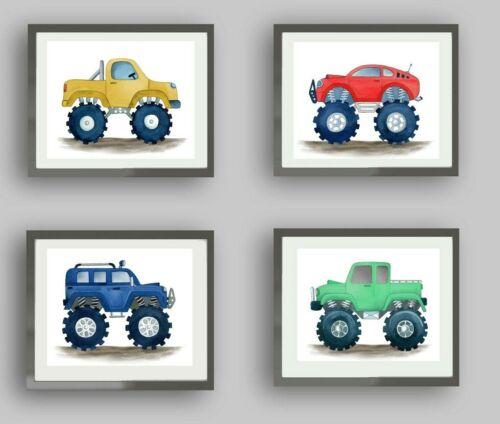monster truck wall decor watercolor art prints for kids boy bedroom nursery