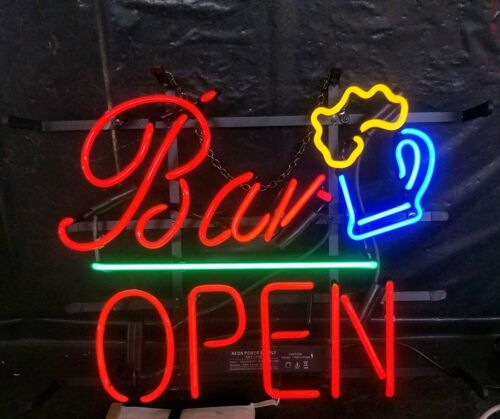 "Bar Open Martini 17""x14"" Neon Sign Lamp Light Beer Bar With Dimmer"