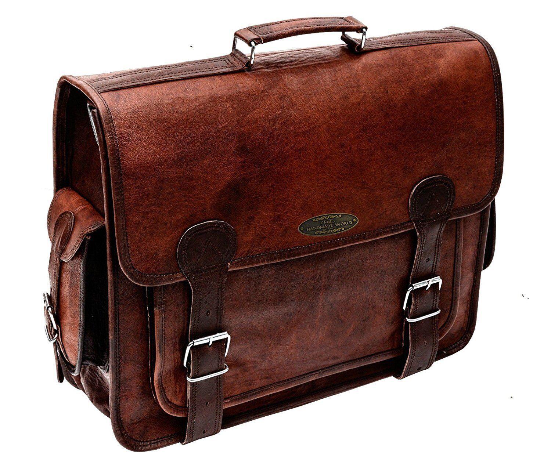 Men/'s Real large Leather Vintage Brown Messenger Shoulder Laptop Bag Briefcase