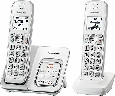 PANASONIC KX-TGD532W Cordless Phone w Call Block & Answering Machine - 2 Handset
