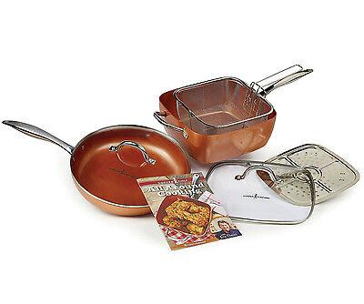 Copper Chef 7-Piece Non-Stick Pot Pan Fry Basket Lid Cookware Set w/ Recipe Book
