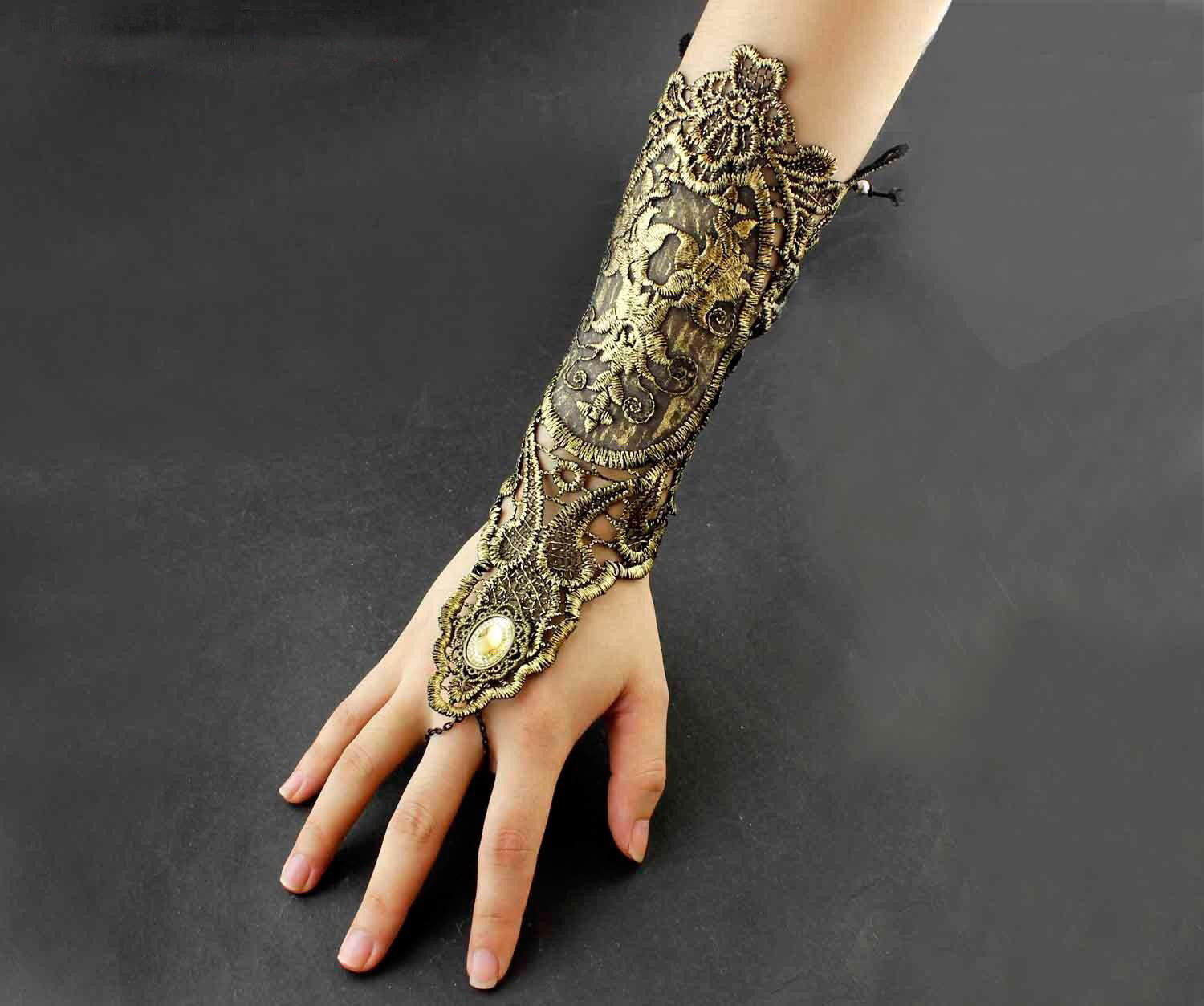 Women's Ladies Steampunk Gothic Costume Gold Lace Sexy Court