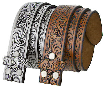 Western Embossed Tooled Genuine Leather Belt Strap 1 1/2'' Wide, Brown Black