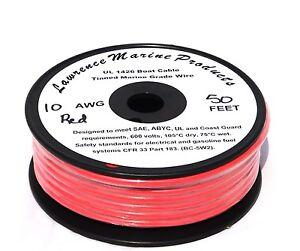 10 Gauge Tinned Marine Primary Wire / Red / 50 Foot Reel