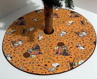 "Fall Christmas Tree Skirt-20.5""- Peanuts Snoopy Charlie Brown Leaves-Custom Made ()"