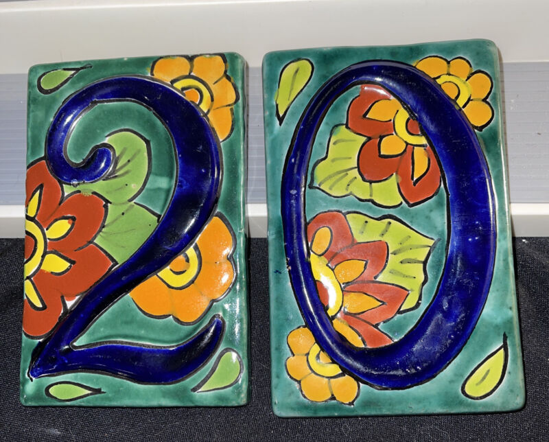 2 Mexican Talavera Pottery House Address Ornate Floral Raised Blue Number Tiles