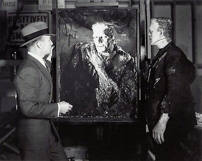 AWESOME KARLOFF FRANKENSTEIN MONSTER WITH PAINTING CLASSIC 8X10 GLOSSY PHOTO