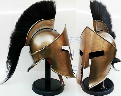 Spartan King Leonidas 300 Movie Armour Helmet Stand Medieval Viking Black Plum