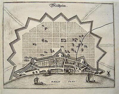 Köln - Mühlheim Nordrhein-Westfalen echter  alter Merian Kupferstich 1647