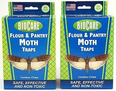 NEW Set Of 2 BioCare Non-Toxic Pesticide Free Flour & Pantry Moth Sticky Traps Biocare Moth Trap