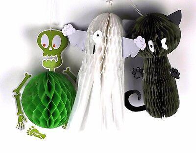 Halloween Hanging Honeycomb Puff Ball Decorations Party Indoor Outdoor Spiderweb (Monster Ball Halloween Party)