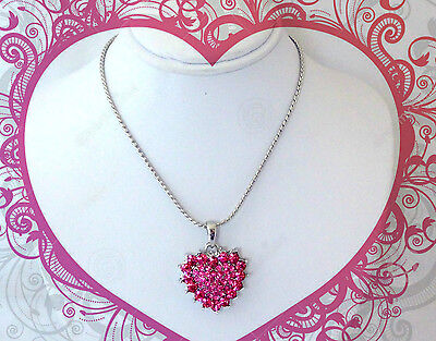Pink Crystal Heart (ROSE PINK CRYSTAL HEART NECKLACE BIRTHDAY GIFT FOR HER GIRLS TEEN WOMEN)