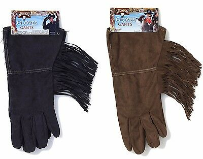 Mens Suede Gloves (Mens Cowboy Gloves Faux Suede Costume Black or Brown Western Rodeo Adult NEW )