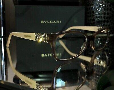 Bvlgari Eyeglasses Swarovski Crystal 4069-B Gold Brown Tan Beige (Tan Eyeglasses)