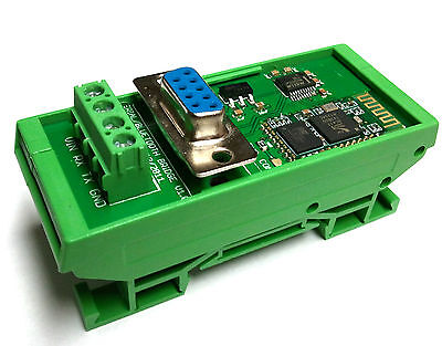 New DIN Rail Mount Serial RS232 to Bluetooth Bridge Module 5-24V Operation DB9 on Rummage