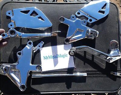 kawasaki zx10r  rearsets heel plates brake gear pedal footrest hangers polished