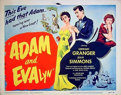 ADAM AND EVELYNE 1949 Stewart Granger, Jean Simmons U.S. 11x14 TITLE LOBBY CARD
