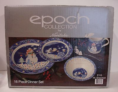 Collection 16 Piece Dinner Set - Epoch Collection MR SNOWMAN 16 Piece Set NEW IN BOX Dinner Salad Cereal Mug