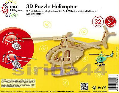 "3D-Puzzle Holzbausatz ""Helikopter"" 23 x 19 x 36,5cm ab 3 Jahre Basteln + Bemalen"