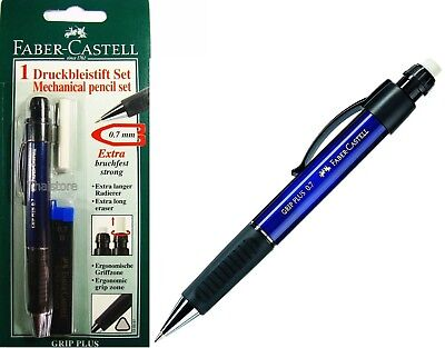New Faber-castell Grip Plus 0.7 Blue Barrel Mechanical Pencil Free Lead Eraser