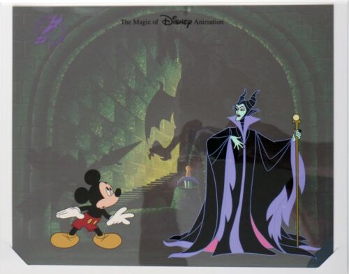 Disney Hand Painted Cel Mickey & Maleficent LE Ink & Paint Department MGM Studio