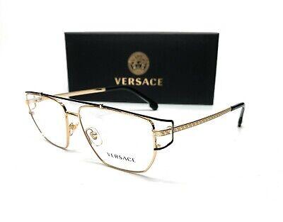 Versace VE1257 1436 Gold Demo Lens Men's Irregular Eyeglasses 55-15