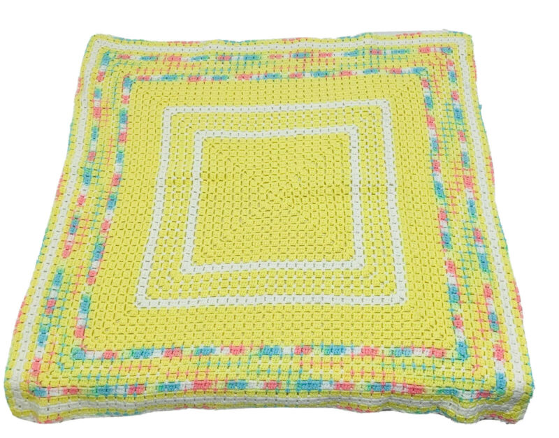 """Hand Crochet Baby Blanket Afghan Granny Square Style Lap Yellow 33"""" x 33"""""""