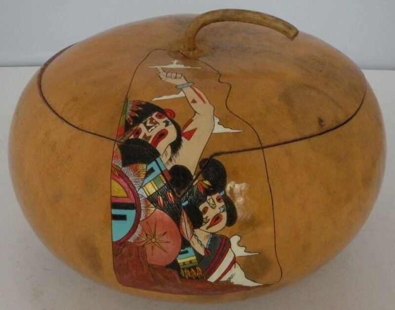Gourd Art lidded pot, bowl Maiden Hopi Indian Kachina signed, painted unique