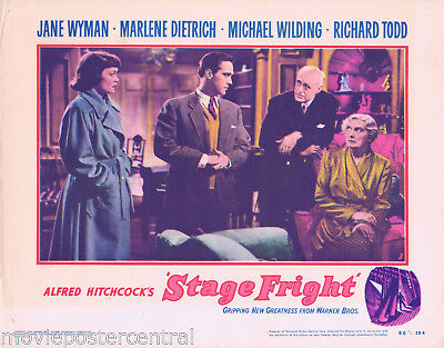 STAGE FRIGHT 1950 Hitchcock Lobby Card 3 Richard Todd Jane Wyman Alastair Sim