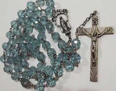 925 Sterling Silver Polished Crucifix Pink Crystal /& Bead Rosary Chain Necklace 21.5