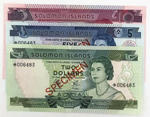 SOLOMON ISLANDS 1979 . 2 - 10 DOLLAR BANKNOTES . SPECIMEN . UNCIRCULATED