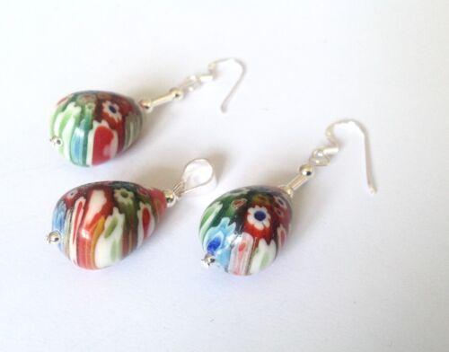 Sterling Silver Mille Fiore Multi  Murano Glass Peardrop Pendant & Earrings Set