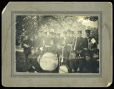 Antique Photograph Marching Band In Uniform Wind Instruments Musicians