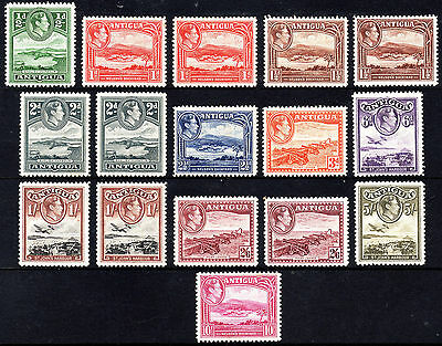 Antigua KGVI 1938-51 SG98/108 plus all a's Complete Mint Set less £1