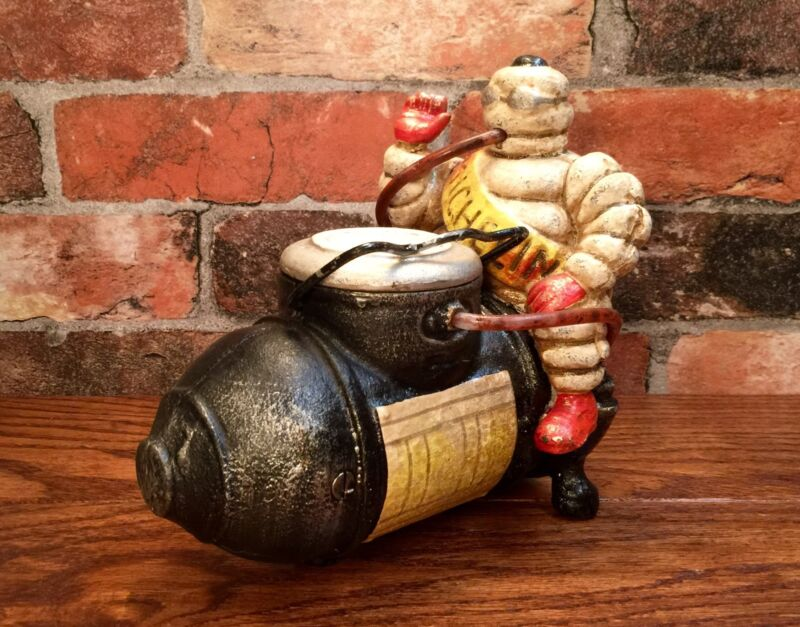 Michelin Man Bibendum on Air Compressor Cast Iron Advertising Model
