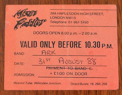 Ark Mean Fiddler 31 August 1988 Ticket Stub Signed by John Jowitt (IQ, Frost)
