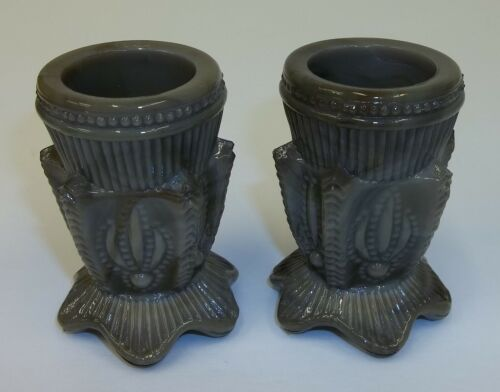 Pair Vintage Greentown Cactus Gray Slag Glass Toothpick Holders