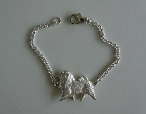 Large Sterling Silver Keeshond Moving Study Bracelet