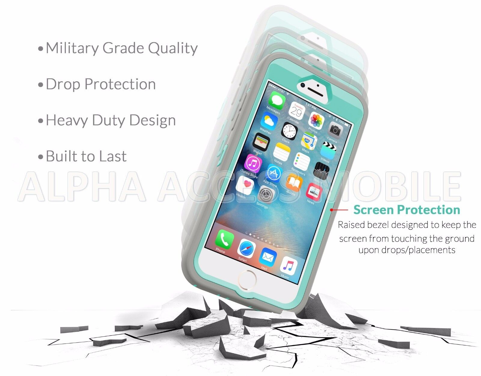 Shockproof Hard Case Cover For Apple iPhone 6 6S Plus (Fits Otterbox Belt Clip)