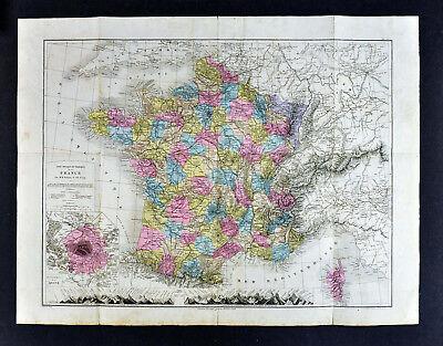 1885 Drioux Map - France - Department of Seine Paris Marseilies Large 54x70cm