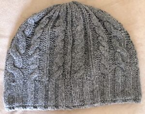 LL Bean Heritage Wool Charcoal Gray Women's Cable Hat Brand New
