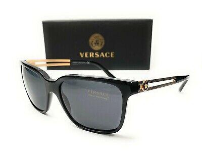 Versace VE4307 GB1 87 Black Grey Lens Men's Square Sunglasses 58mm