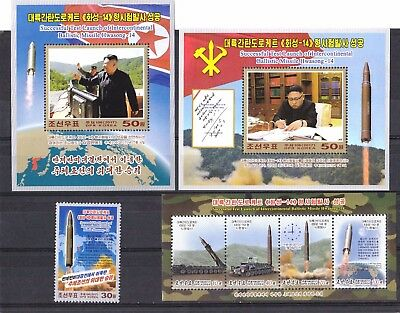L3654  Korea Launch Hwasong 14 Missile 4 Pcs Stamp And Ms  2017 Rare