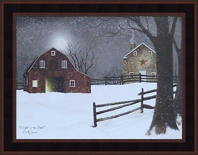 A Light In The Stable By Billy Jacobs Framed Print 16X20 Barn Full Moon Snow Hcd