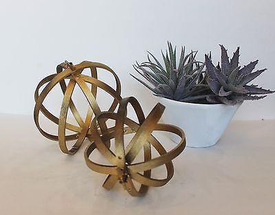 decorative orbs wood metal ball rustic home decor spheres accent balls 3 set - Decorative Orbs