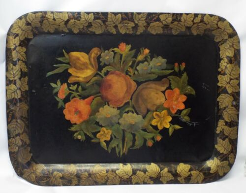 """LARGE 21"""" x 28"""" Antique FLORAL Painted TOLEWARE SERVING TRAY PLATTER Grapevine"""