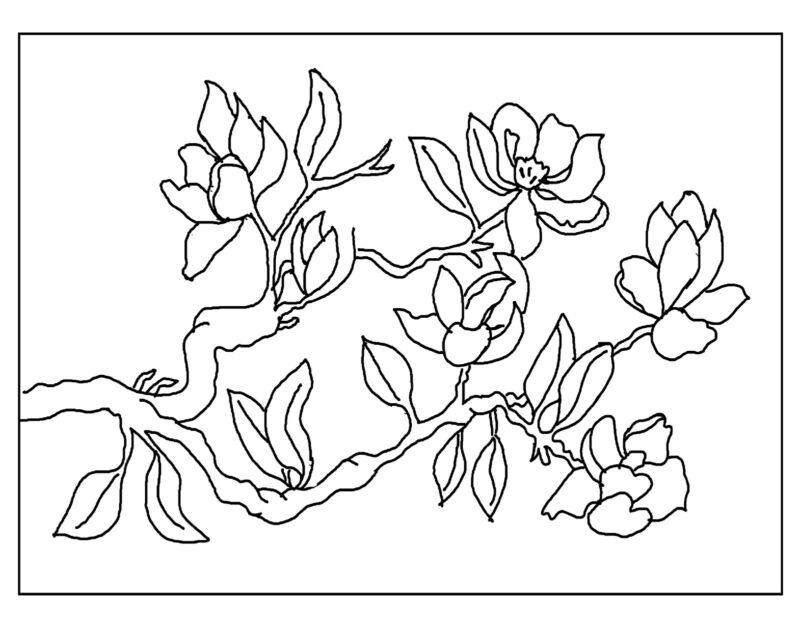 "Rug Hooking Pattern "" MAGNOLIAS "" on natural linen"